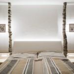 Birkenstamm als Dekoration im Schlafzimmer