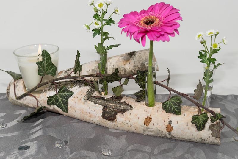 Tischdekoration aus birke - Deko aus birkenholz ...