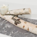 Tischdekoration Roh mit Kerze aus Birke