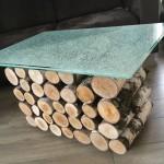 Wohnzimmer Glastisch aus Birke